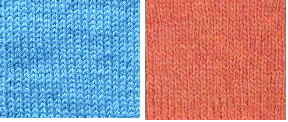 "Photos of knitted swatches, one blue, one orange. The blue one has clear, even ""V"" stitch definition, while the orange swatch has ""lopsided"" V stitches, where the left slope looks normal, but the right one is on a steeper angle."