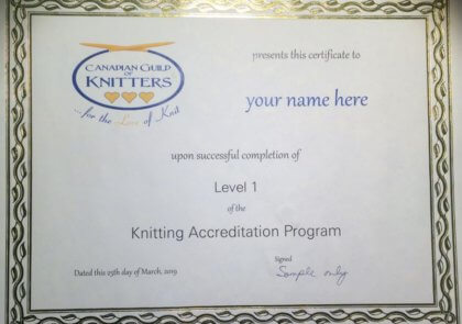 a certificate for successful completion of Level 1 of the Knitting Accreditation Program with a gold leaf border on ivory bond paper
